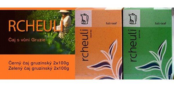 RCHEULI zelený a černý gruzínský čaj, 2 +2 balení, celkem 400g