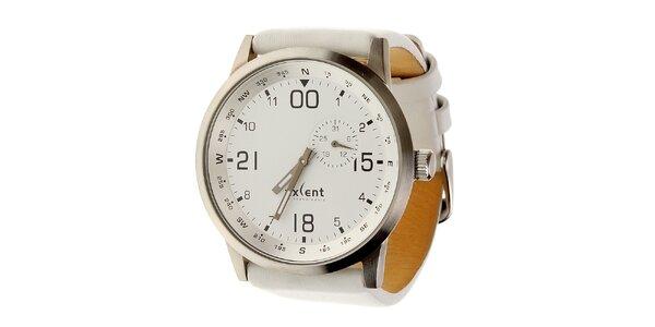 Dámské ocelové hodinky Axcent s bílým koženým řemínkem