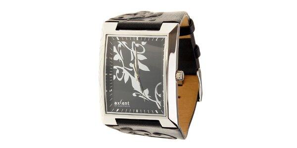 Dámské ocelové hodinky Axcent s černým koženým řemínkem a ornamentem
