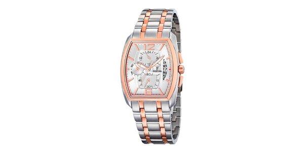 Stříbrné ocelové hodinky Festina se zlatými detaily a bílým ciferníkem