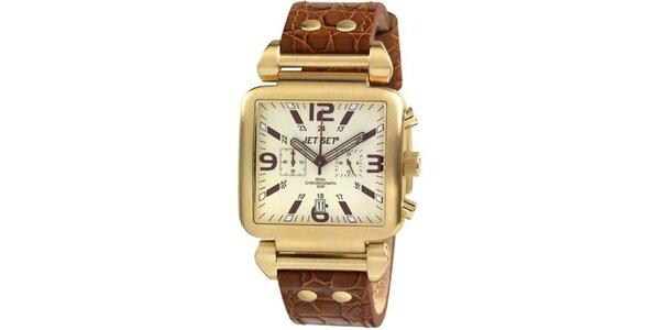 Unisexové zlaté hranaté hodinky s hnědým koženým páskem Jet Set