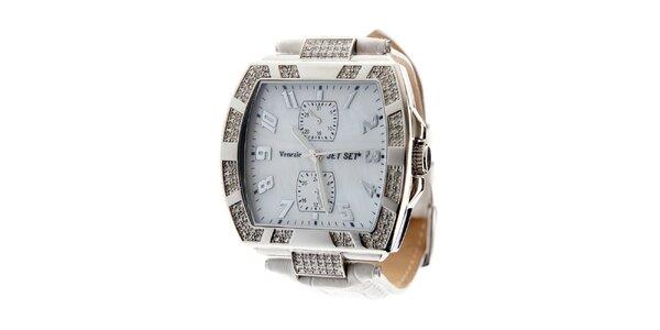 Dámské ocelové hodinky Jet Set s kamínky a bílým koženým řemínkem