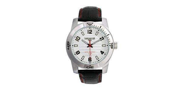 Pánské černé analogové hodinky se stříbrno-bílým ciferníkem Lancaster
