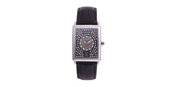 Dámské černé analogové hodinky s krystaly Swarovski Lancaster