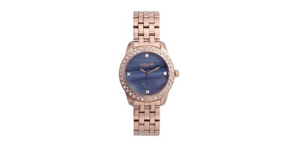 Dámské růžovo-zlaté analogové hodinky se Swarovski elementy Lancaster