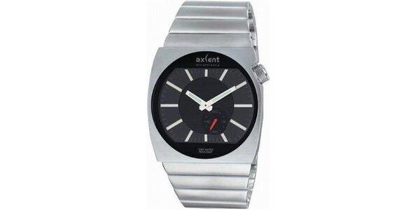 Pánské ocelové hodinky s kulatým analogovým ciferníkem Axcent