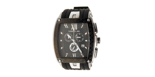Pánské černo-stříbrné hodinky Cerruti 1881 s pryžovým páskem