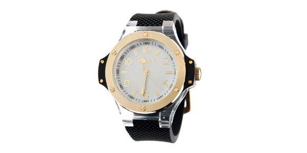 Dámské zlaté hodinky Jet Set s černým silikonovým páskem