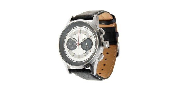 Pánské hodinky Marc O´Polo s černým koženým řemínkem a stříbrným ciferníkem