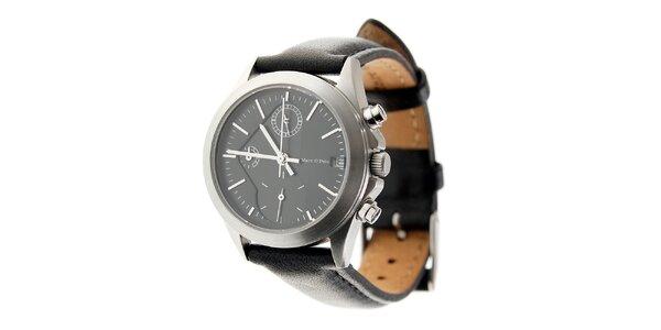 Dámské ocelové hodinky Marc O´Polo s černým koženým řemínkem
