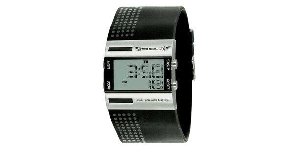 Stříbrné digitální hodinky s širokým černým řemínkem RG512