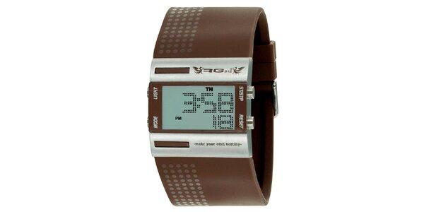 Stříbrné digitální hodinky s širokým hnědým řemínkem RG512