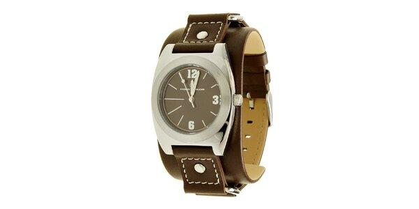 Stylové ocelové hodinky Tom Tailor s tmavě hnědým koženým řemínkem