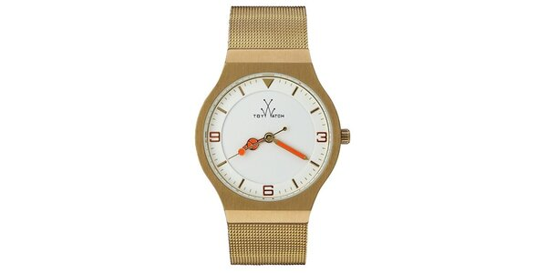 Dámské zlaté analogové hodinky Toy s červenými detaily