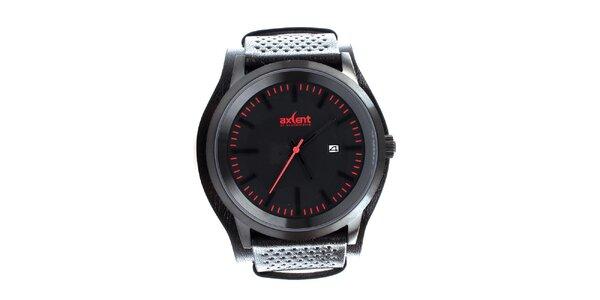 Pánské černé hodinky se širokým páskem Axcent