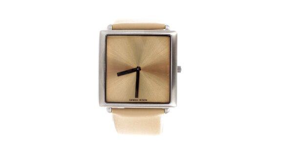 Dámské béžové hodinky Danish Design se čtvercovým ciferníkem