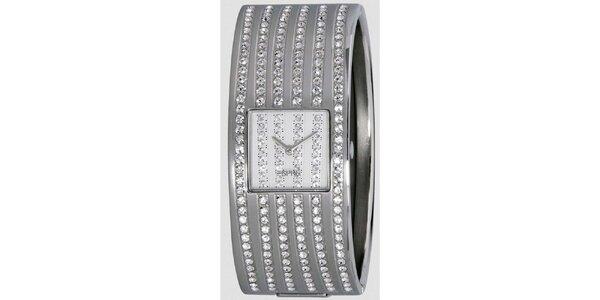 Dámské stříbrně tónované hodinky s řadami krystalů Esprit
