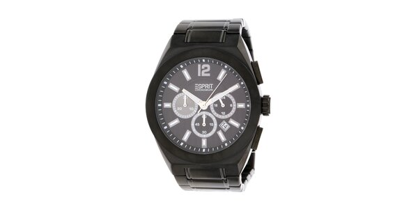 Pánské černé hodinky s chronografem Esprit