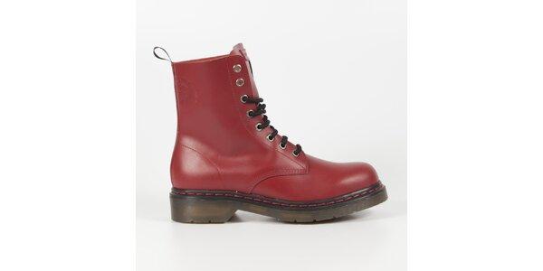 Dámské bordó kožené punkové boty Diesel