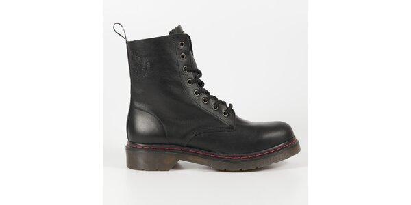 Dámské černé kožené punkové boty Diesel