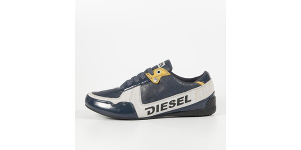 Pánské šedomodré tenisky s lakovaným detailem Diesel