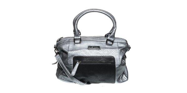 Dámská šedá metalická kabelka s černým dílem Diesel
