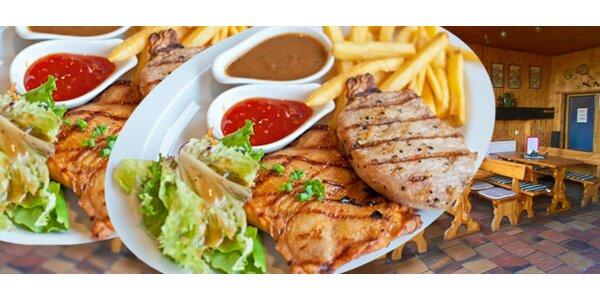 Kuřecí steak s hermelínem a hranolky pro dva