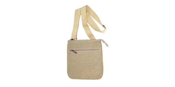 Textilní taška přes rameno značky Café Noir v béžové barvě