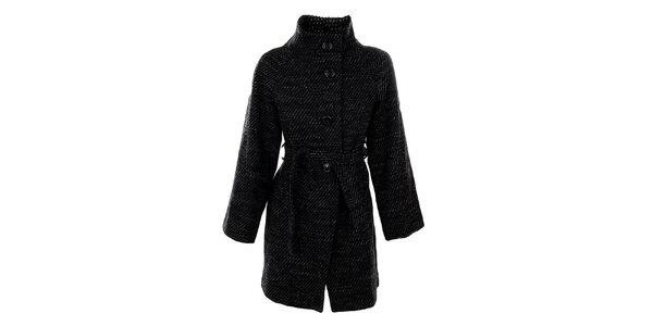 Dámský černobílý kabát s páskem Straboski