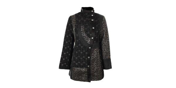 Dámský černý kabát se vzory Gémo