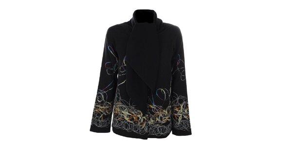 Dámský krátký černý kabátek s barevným vzorem Gémo
