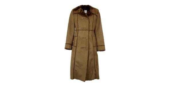 Dámský dlouhý hnědý kabát Gémo