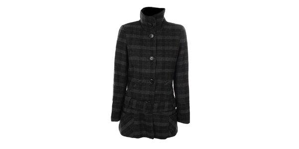Dámský šedočerný károvaný kabát s páskem Gémo
