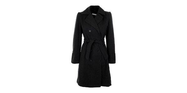 Dámský šedý dvouřadý kabát s páskem Gémo