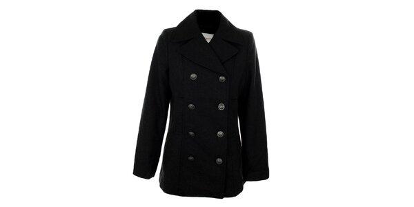 Dámský kratší šedočerný dvouřadý kabát Gémo