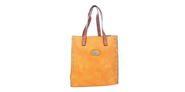 Dámská žlutooranžová kabelka s tyrksovým vakem a hnědými poutky Maku Barcelona