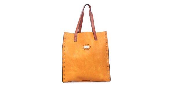 Dámská žlutooranžová kabelka s tyrkysovým vakem uvnitř Maku Barcelona