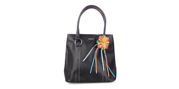 Dámská černá kabelka s fialovou podšívkou a květinou Maku Barcelona