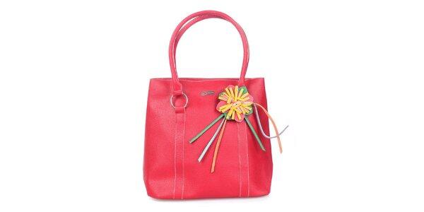 Dámská červená kabelka s kytičkou Maku Barcelona