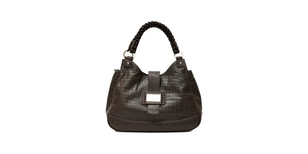 Elegantní hnědá kabelka značky Café Noir v imitaci krokodýlí kůže
