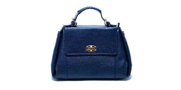 Dámská modrá kožená kabelka s odnímatelným popruhem Renata Corsi