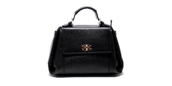 Dámská černá kožená kabelka s odnímatelným popruhem Renata Corsi