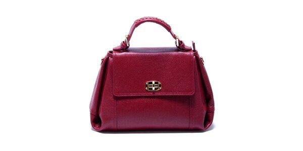 Dámská malinově červená kožená kabelka s odnímatelným popruhem Renata Corsi