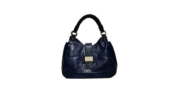 Elegantní tmavě modrá kabelka značky Café Noir v imitaci krokodýlí kůže