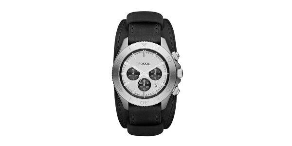 Pánské stříbrné retro hodinky Fossil