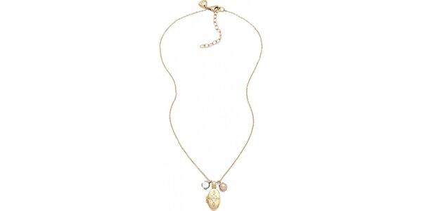 Dámský náhrdelník ve zlaté barvě s medailonkem Fossil