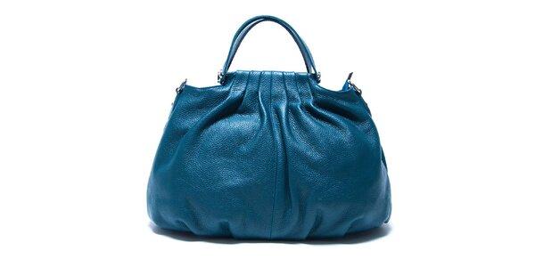 Dámská modrá kožená kabelka s řasením Renata Corsi