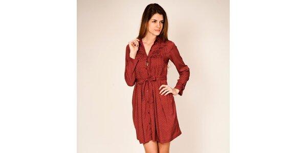 Dámské červené šaty s retro vzorem Tantra