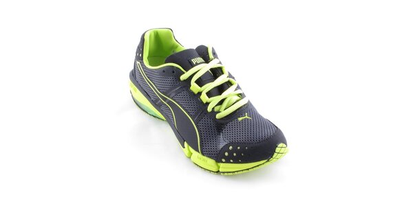 Dámské černé běžecké boty Puma se zelenými detaily