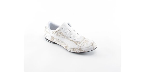 Pánské bílé tenisky Puma se zlatým potiskem
